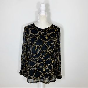 BANANA REPUBLIC chain lock print blouse